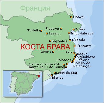 Коста Брава на карте испании, описание курорта 3