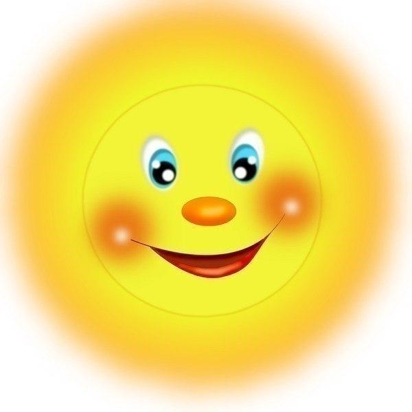 Картинки солнышка с улыбкой и лучиками - для детей, смотреть 13
