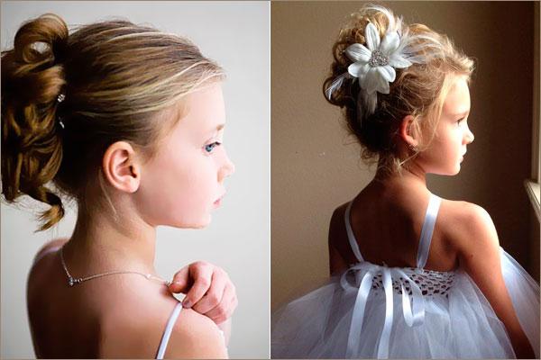 Праздничная прическа для девочки на средний волос