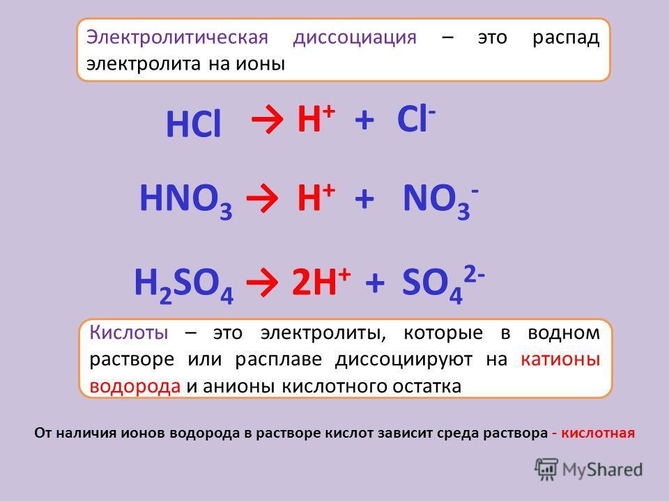 Сильные и слабые электролиты - степень диссоциации 1