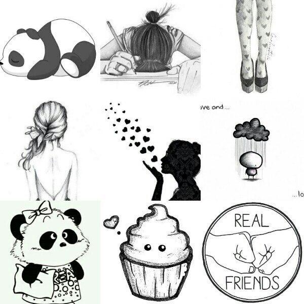 Картинки для личного дневника - черно-белые, простые, красивые 11