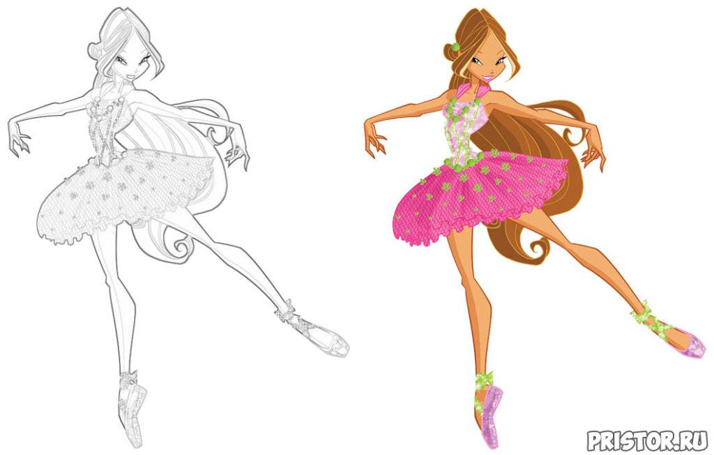 Раскраски Винкс Флора - распечатать, скачать, классные, красивые 4