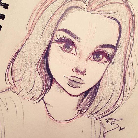 Красивые девушки для срисовки - картинки, рисунки, простые и легкие 9
