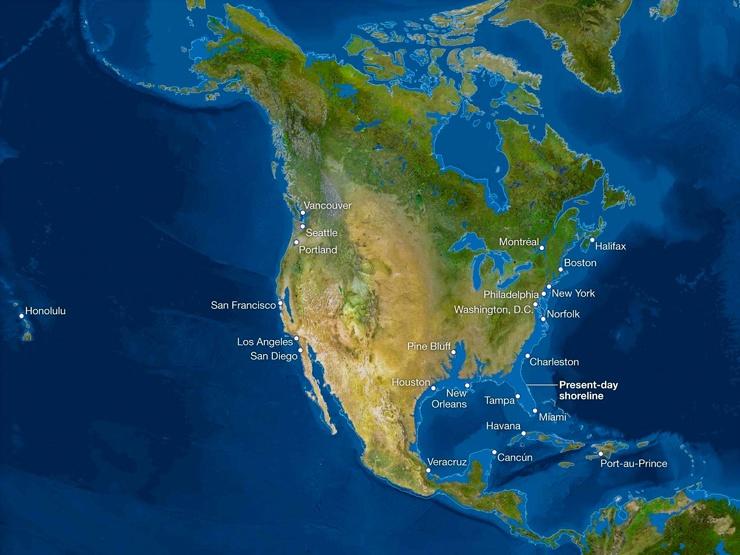 Карта мира после таяния всех льдов. Анализ от National Geographic 2