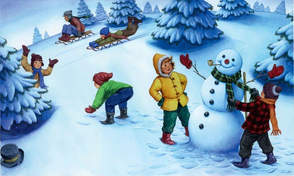 Красивые и прикольные рисунки на тему зимние забавы - скачать бесплатно 1