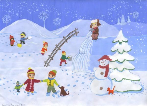 Красивые и прикольные рисунки на тему зимние забавы - скачать бесплатно 10