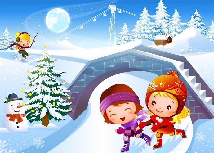 Красивые и прикольные рисунки на тему зимние забавы - скачать бесплатно 11