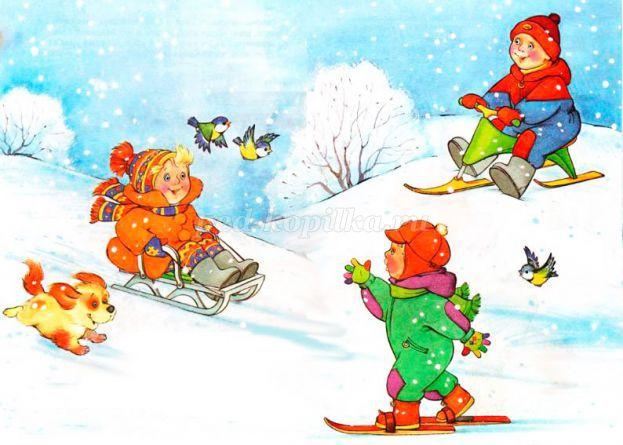 Красивые и прикольные рисунки на тему зимние забавы - скачать бесплатно 4