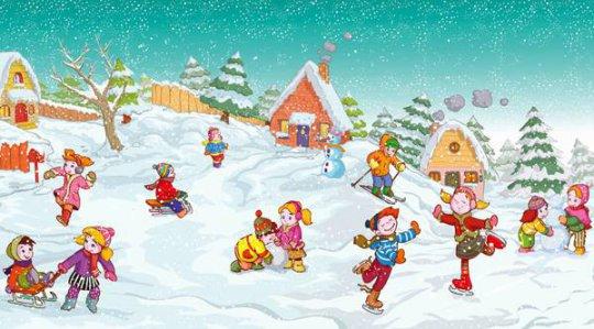 Красивые и прикольные рисунки на тему зимние забавы - скачать бесплатно 7