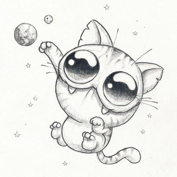 Рисунки котиков и кошек для срисовки - красивые и прикольные 8