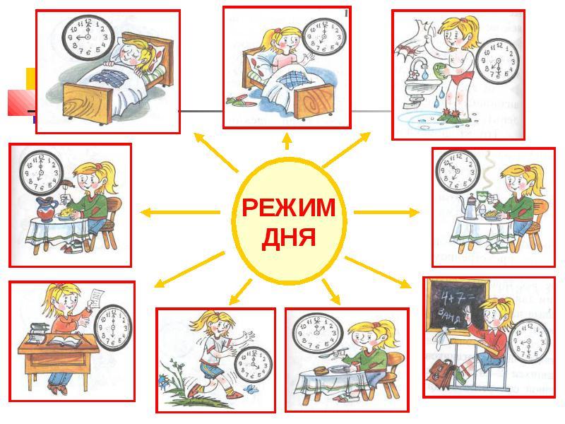 Режим дня - красивые картинки для детей для детского сада 1