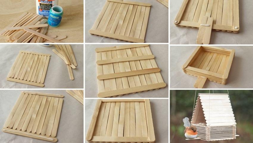Как сделать кормушку для птиц своими руками - идеи из дерева, бутылки, коробок 17