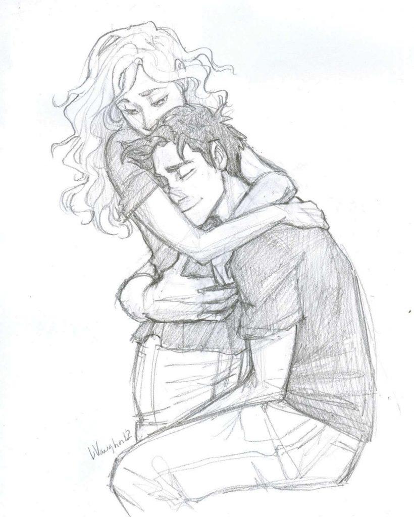 Картинки и рисунки влюбленной пары для срисовки карандашом - подборка 16