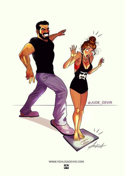 Забавные комиксы Иегуды Ади Девира про его веселую жизнь с супругой 21
