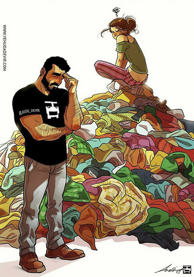 Забавные комиксы Иегуды Ади Девира про его веселую жизнь с супругой 23