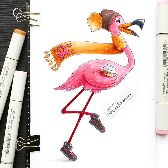 Красивые картинки фламинго для срисовки - интересная подборка 3
