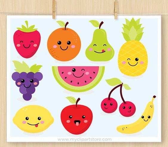 Прикольные и кавайные картинки фруктов для срисовки - подборка 1