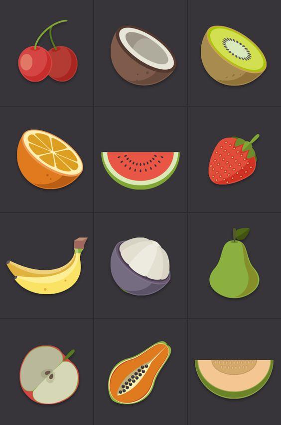 Прикольные и кавайные картинки фруктов для срисовки - подборка 13