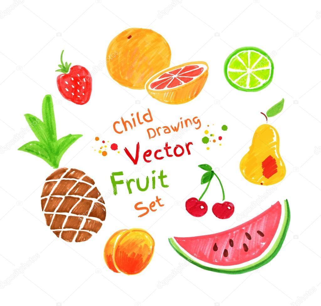 Прикольные и кавайные картинки фруктов для срисовки - подборка 15
