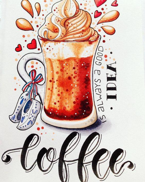 Классные и прикольные картинки для срисовки кофе сборка 2018 10