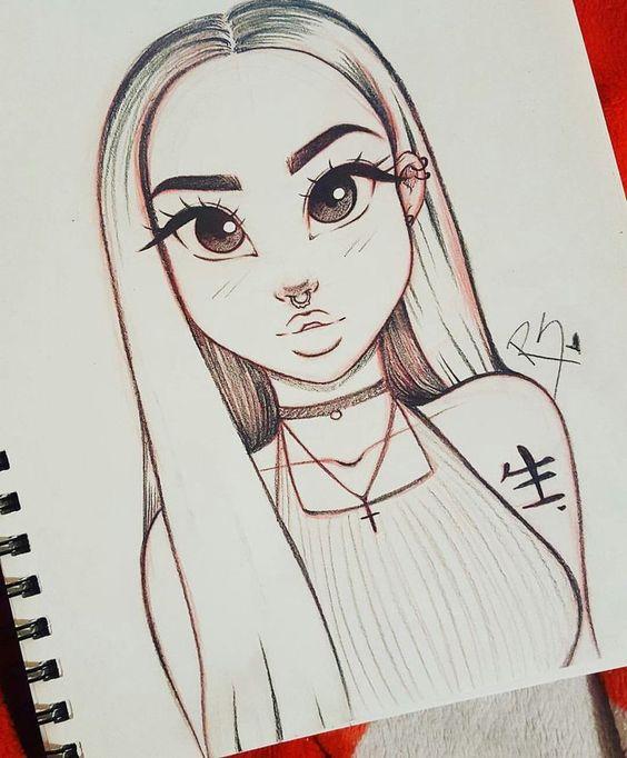 Красивые и милые картинки арт девочек для срисовки - сборка 1