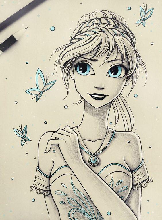 Красивые и милые картинки арт девочек для срисовки - сборка 11