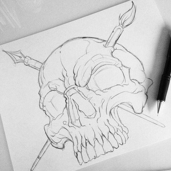 Рисунки и картинки для срисовки череп, черепок - самые прикольные 16