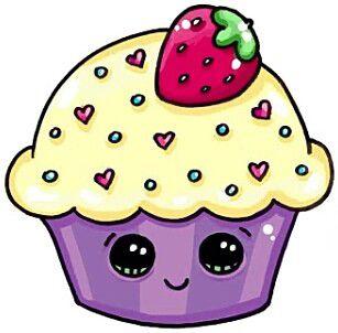 Красивые и милые картинки кексов, пирожных для срисовки 8