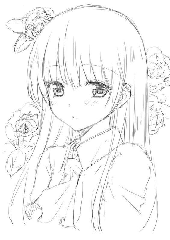 Красивые картинки аниме девушек для срисовки карандашом - сборка 1