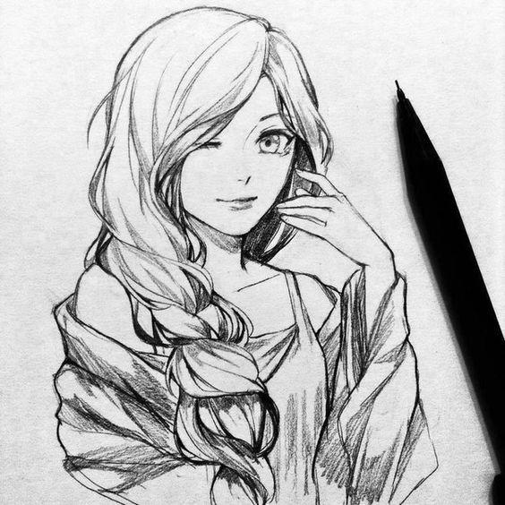 Красивые картинки аниме девушек для срисовки карандашом - сборка 6