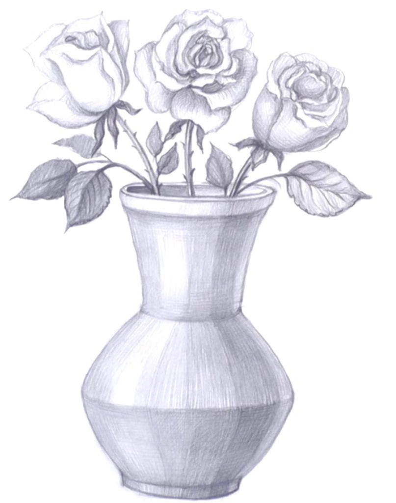 Красивые картинки вазы с цветами и без для срисовки - подборка 7