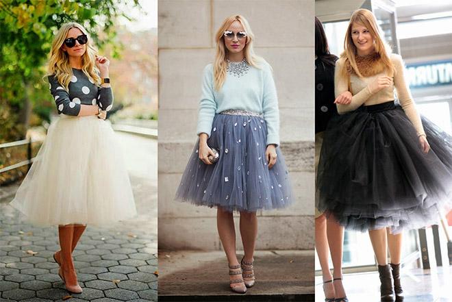 С чем носить фатиновую юбку - одежда, цветовое сочетание 2