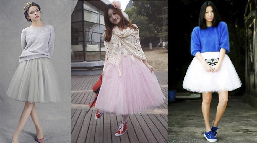 С чем носить фатиновую юбку - одежда, цветовое сочетание 3