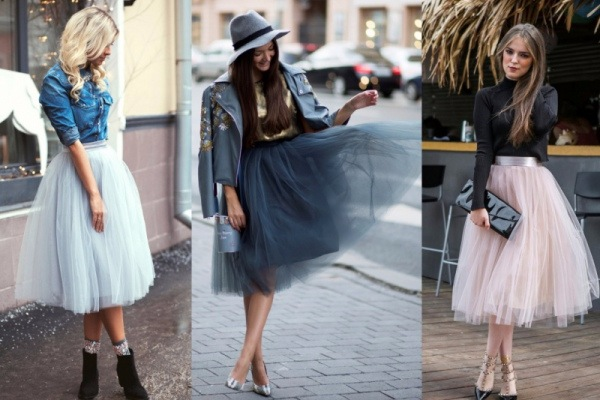 С чем носить фатиновую юбку - одежда, цветовое сочетание 4