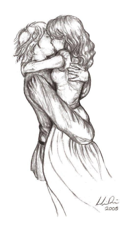 Красивые и милые рисунки карандашом для срисовки поцелуи 12
