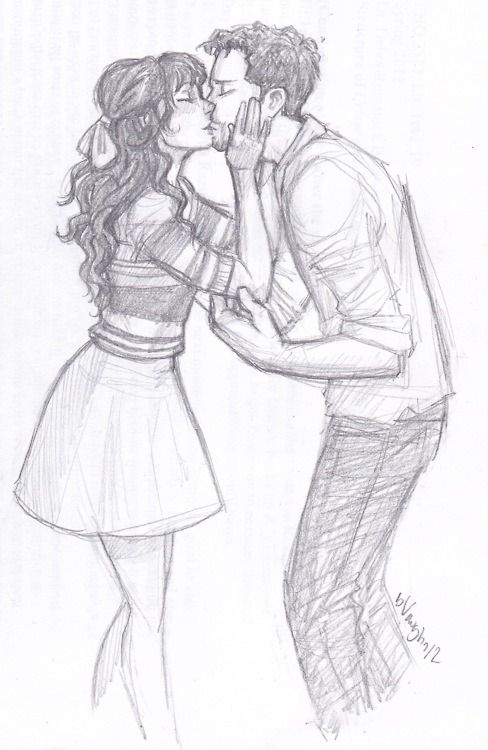 Красивые и милые рисунки карандашом для срисовки поцелуи 14