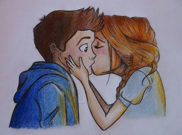 Красивые и милые рисунки карандашом для срисовки поцелуи 3