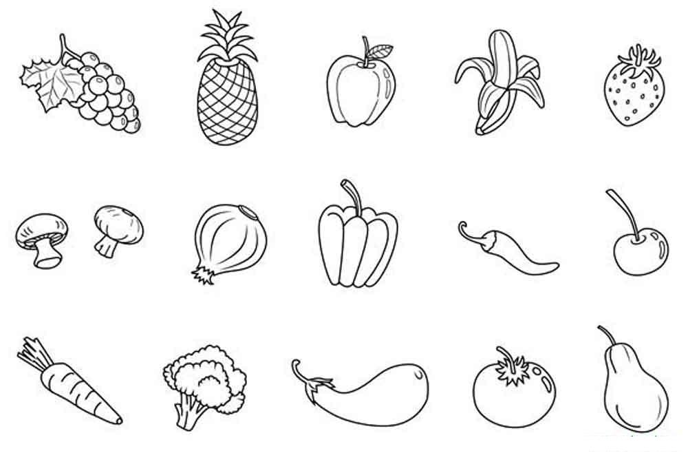 Красивые картинки для раскраски фрукты и овощи - подборка 1