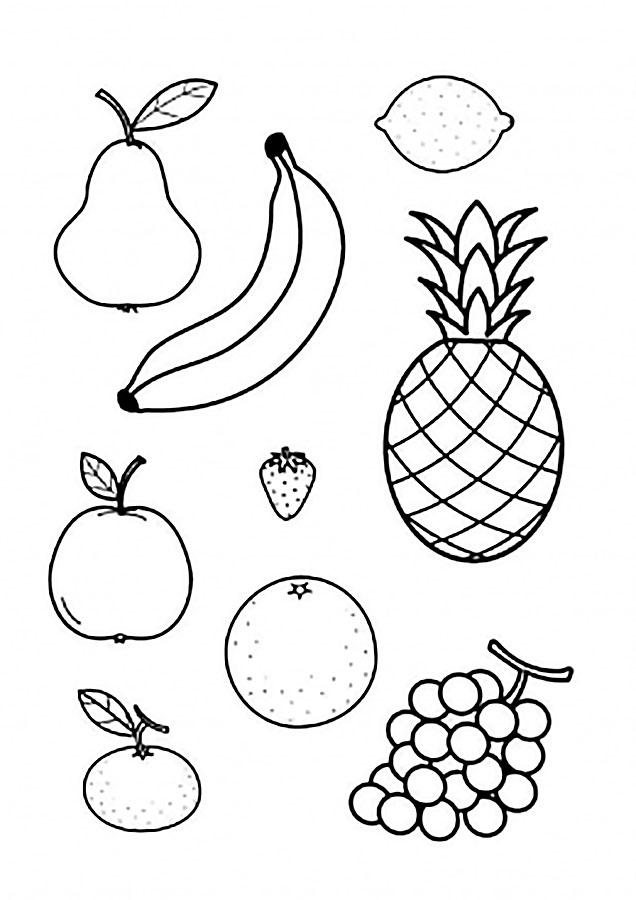 Красивые картинки для раскраски фрукты и овощи - подборка 12