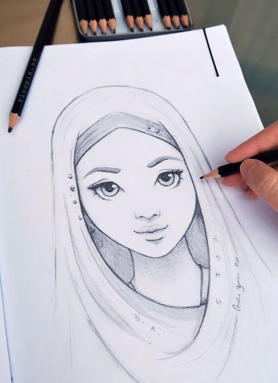 Красивые картинки и рисунки для срисовки лицо девушки - подборка 12