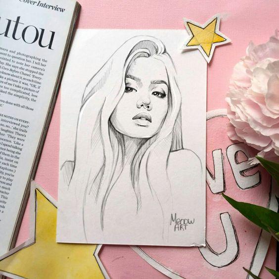 Красивые картинки и рисунки для срисовки лицо девушки - подборка 15