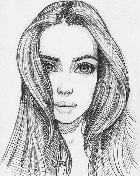 Красивые картинки и рисунки для срисовки лицо девушки - подборка 2
