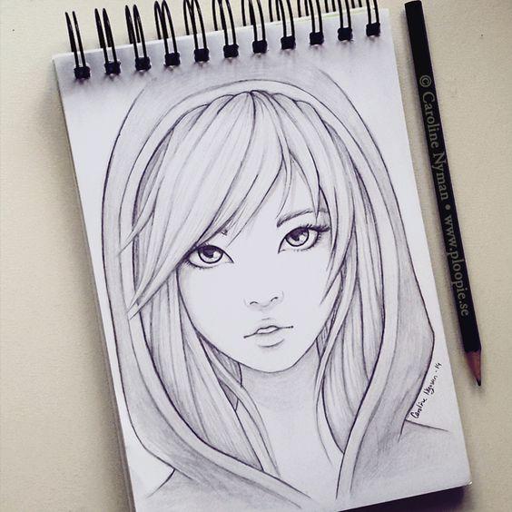 Красивые картинки и рисунки для срисовки лицо девушки - подборка 3