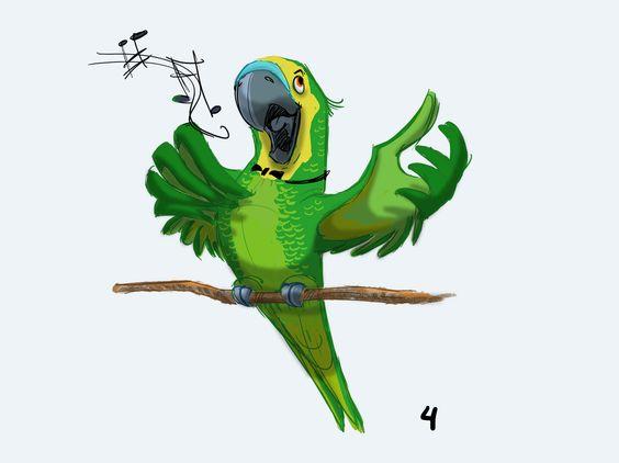Красивые картинки и рисунки попугаев для срисовки для детей 8
