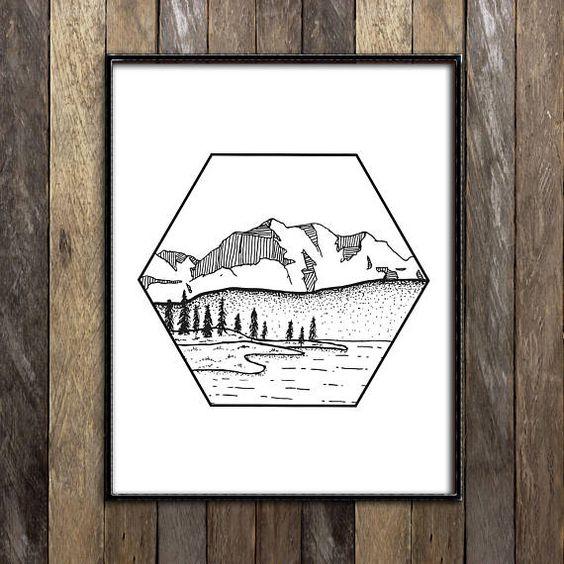 Красивые и прикольные картинки, рисунки гор для срисовки - сборка 4