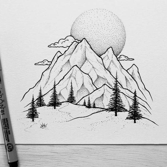 Красивые и прикольные картинки, рисунки гор для срисовки - сборка 9