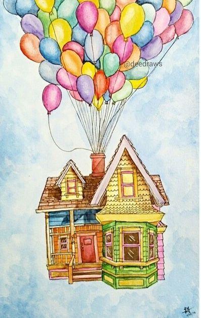 Очень красивые картинки Дом на шариках для срисовки, раскраски - подборка 1