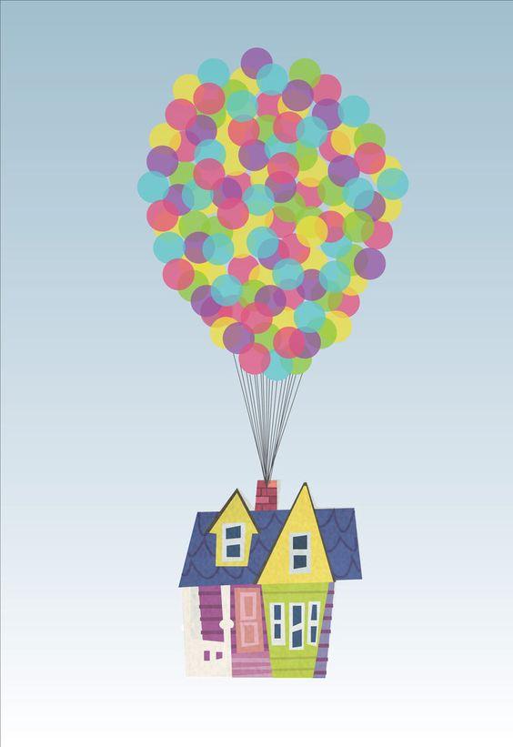 Очень красивые картинки Дом на шариках для срисовки, раскраски - подборка 2