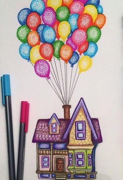 Очень красивые картинки Дом на шариках для срисовки, раскраски - подборка 5