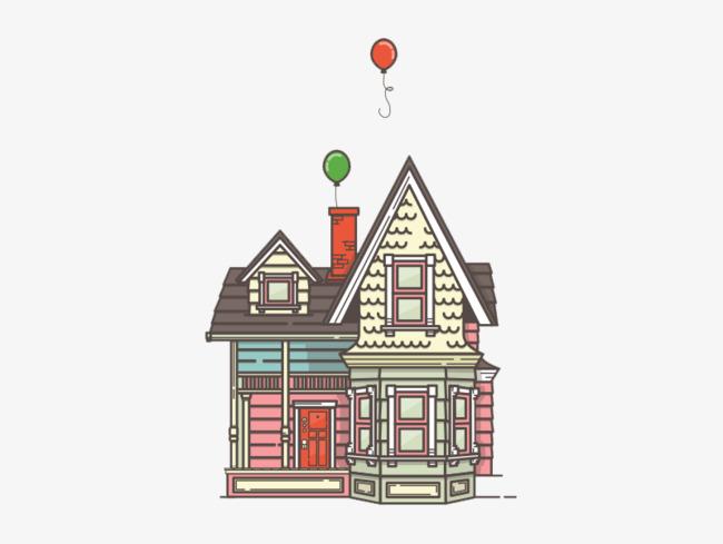 Очень красивые картинки Дом на шариках для срисовки, раскраски - подборка 7